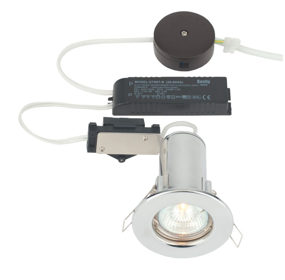 LAP Fixed Round Low Voltage Fire Rated Downlight Polished Chrome Effect 12V