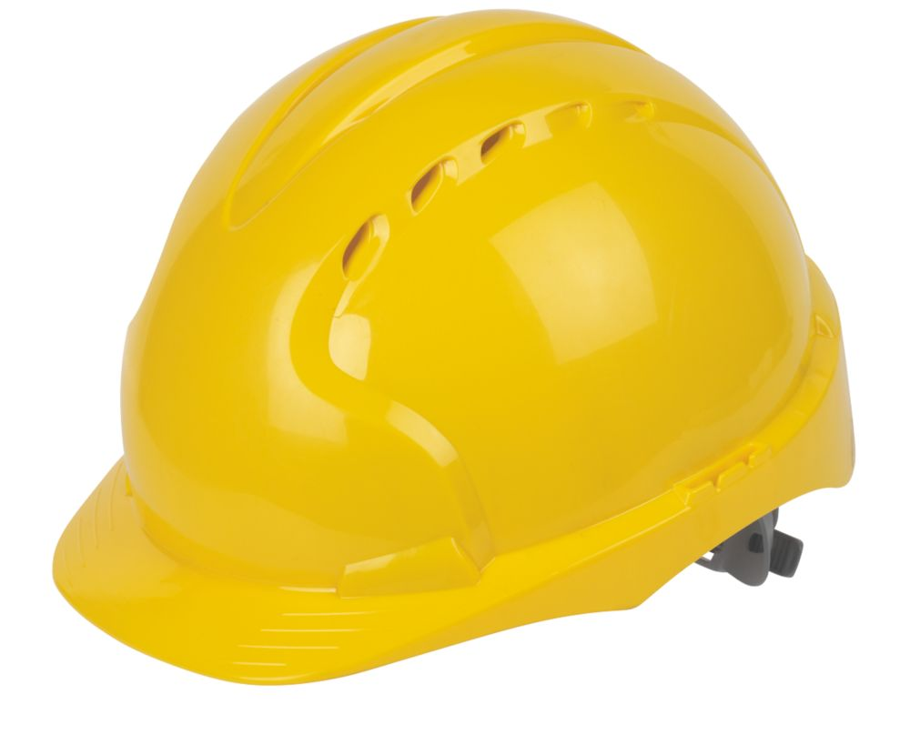JSP EVO 3 Comfort Plus Adjustable Slip Vented Safety Helmet Yellow