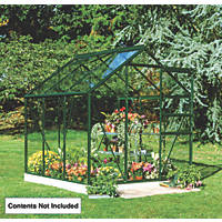 Halls Popular Greenhouse Green Toughened Glass 6' x 6'