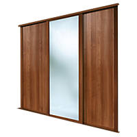 Spacepro 3 Door Sliding Wardrobe Doors Walnut / Mirror 2236 x 2260mm 3 Pack
