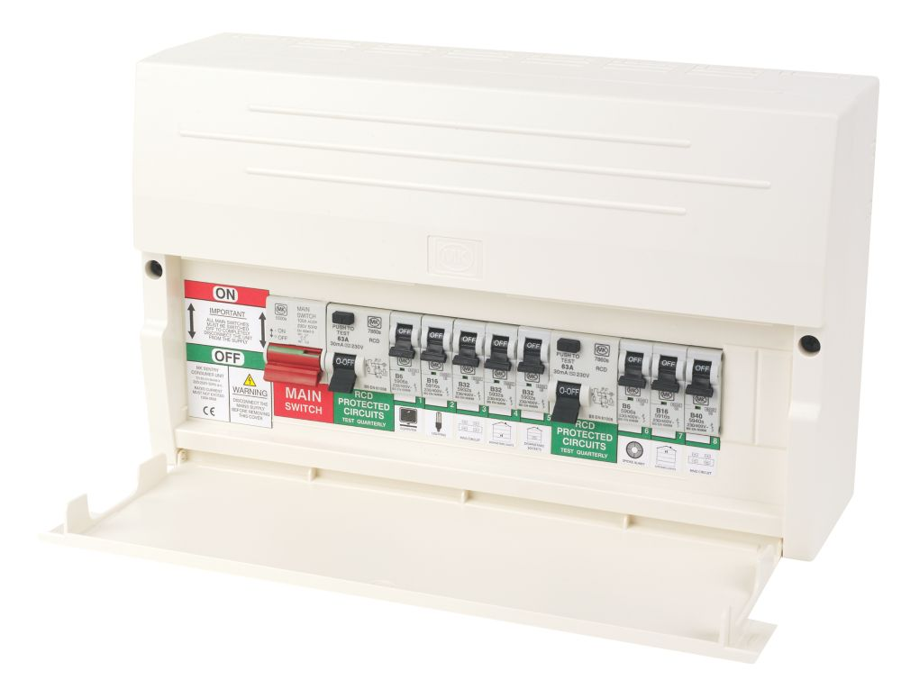 MK Sentry 16-Module 10-Way Dual RCD Consumer Unit with 8 MCBs