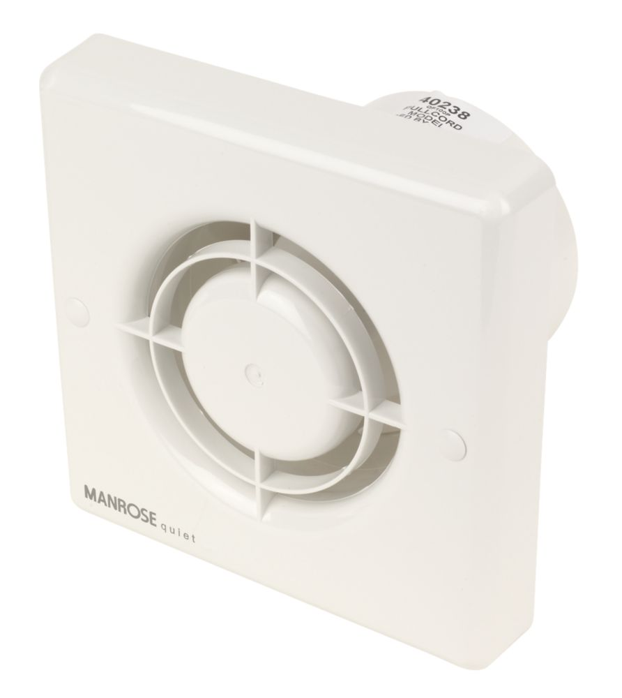 Manrose QF100P Quiet Fan Bathroom Axial Extractor Fan 5W with Pullcord