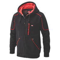 "Lee Cooper 105 Hooded Fleece Jacket Black/Red Large 62"" Chest"