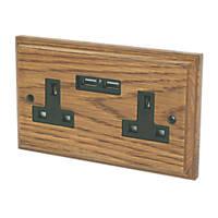 Varilight 13A 2-Gang Socket & 2.1A 2G USB Charging Ports Medium Oak