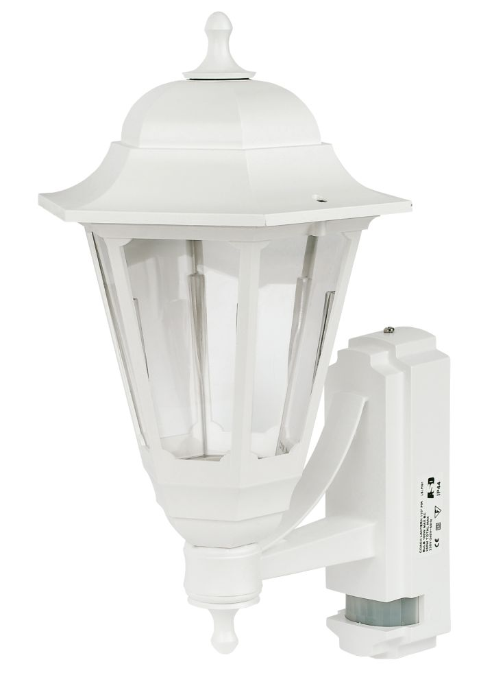 ASD Coach White Lantern Outdoor Wall Light with PIR