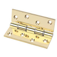 Eclipse Double Steel Washered Hinge Grade 11 Polished Brass 76 x 102mm 2 Pack