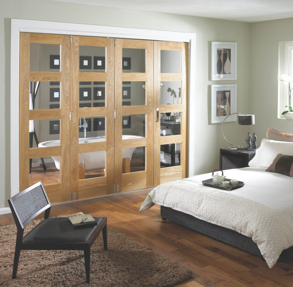 Jeld-Wen Glazed 4-Door Internal Room Divider Oak Veneer 2552 x 2044mm