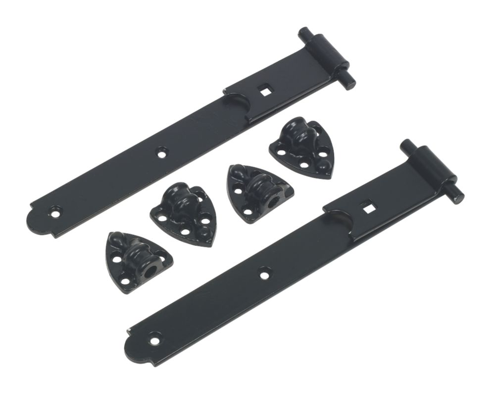 Heavy Reversible Gate Hinges Pair Black 305mm