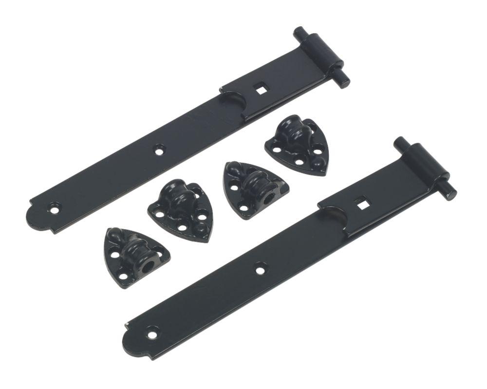Heavy Reversible Gate Hinges Pair Black 305mm