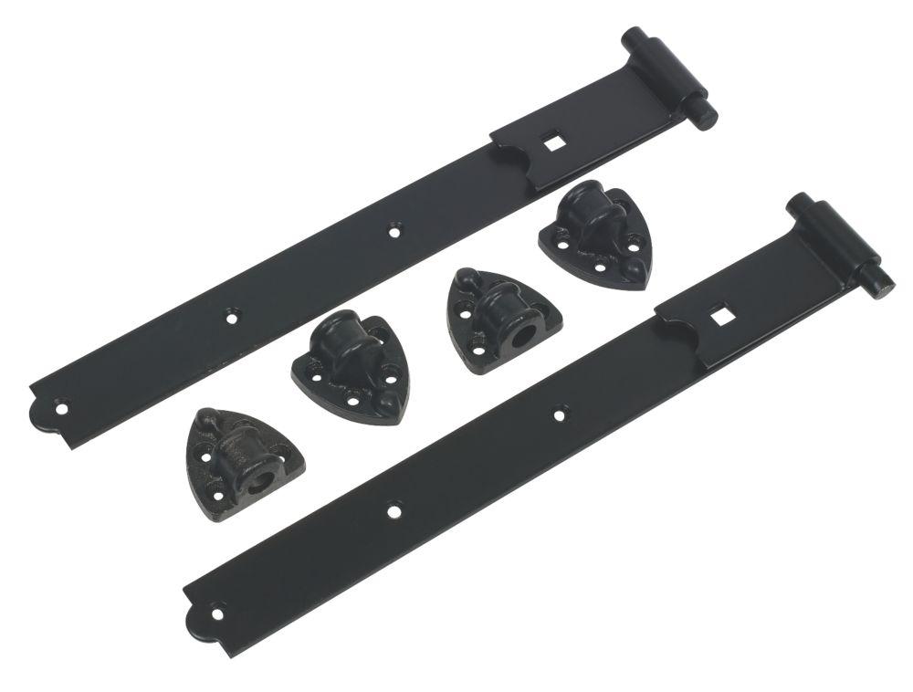 Gate Hinge Reversible Pair Black 490mm