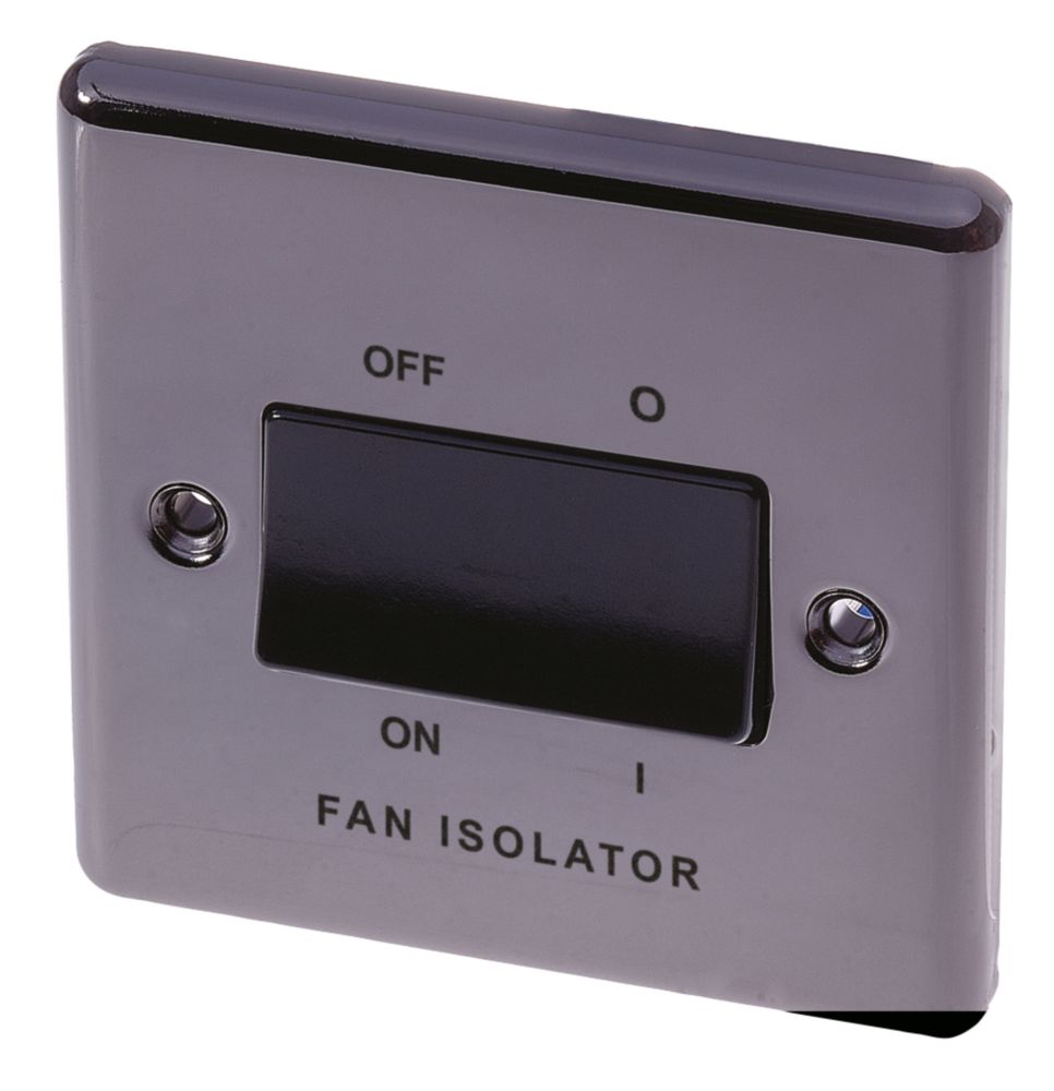 LAP 10AX 3-Pole Fan Isolator Switch Black Nickel