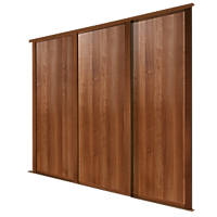 Spacepro 3 Door Panel Sliding Wardrobe Doors Walnut 2692 x 2260mm 3 Pack