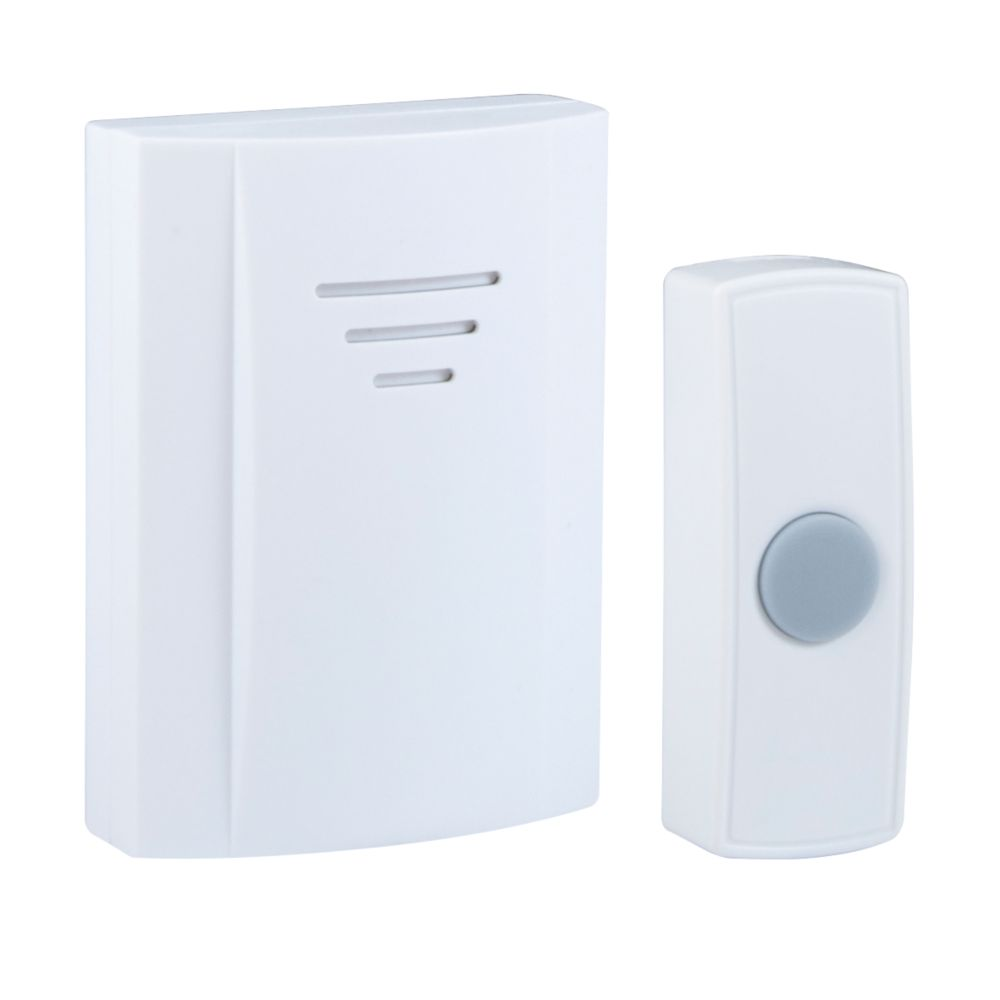 Byron DB304 Wireless Door Chime Kit 75m with Li-Ion Powered Bell Push White
