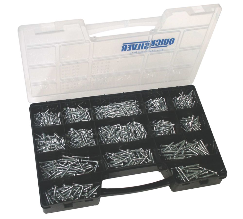 Quicksilver Round Head Selection Pack Zinc-Plated 1000 Pieces