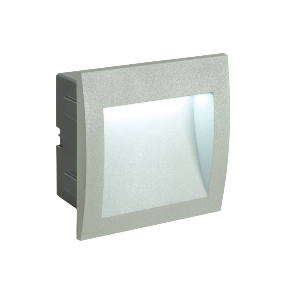 Saxby Gatsby Recessed LED Brick Light Matt Aluminium 3W LED Wall Lights Screwfix.com