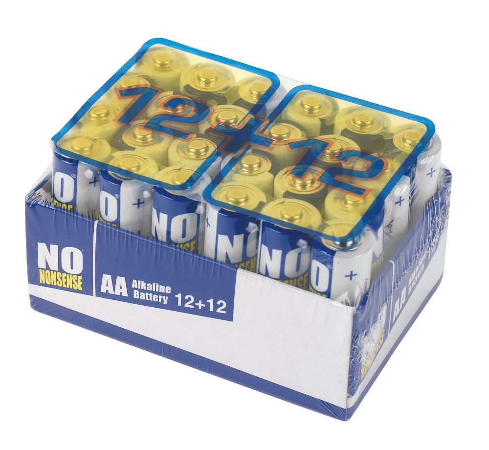No Nonsense Alkaline Batteries AA 1.5V Pack of 12 + 12 Free