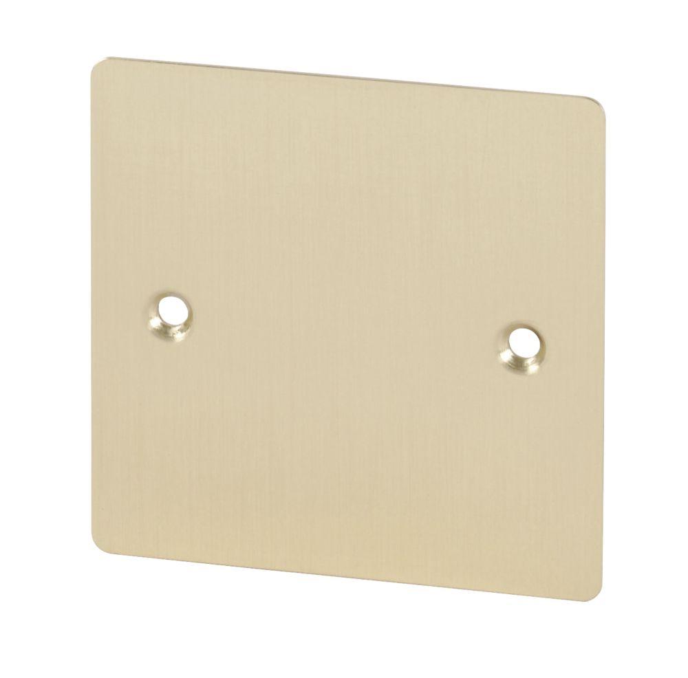 Volex 1-Gang Blank Plate Brushed Brass Flat Plate