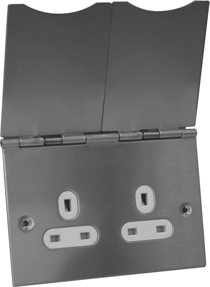 GET 2-Gang Unswtiched Stainless Steel Floor Socket