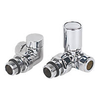Torino Chrome Angled Radiator Valve & Lockshield 15mm 2 Pcs