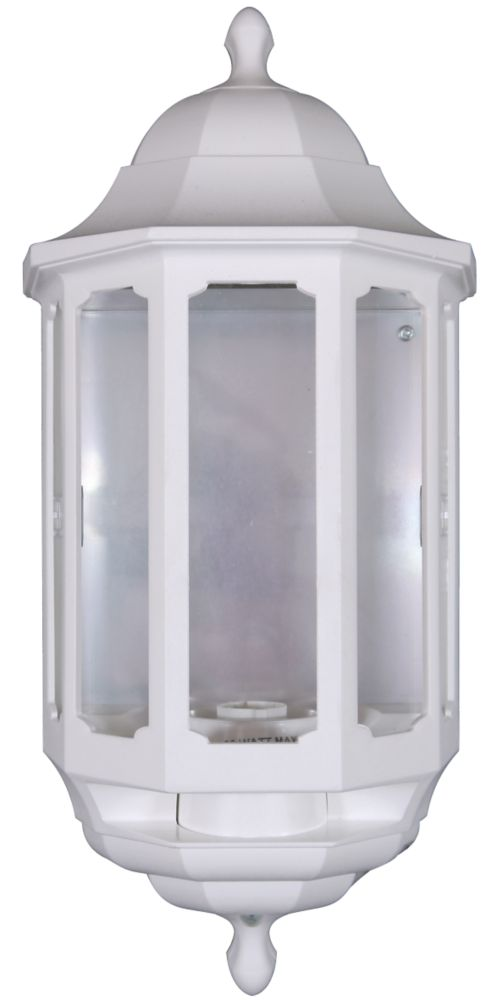ASD Half 60W White Lantern Wall Light PIR Included