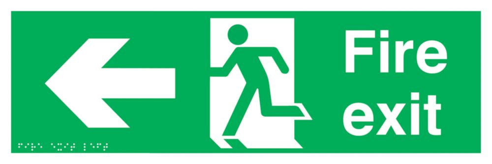 "Braille ""Fire Exit"" Left Arrow Sign 150 x 450mm"