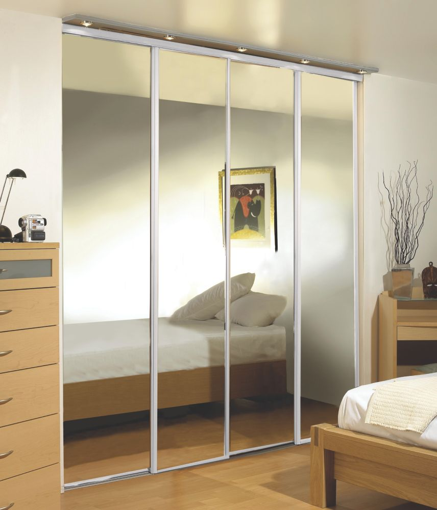 Sliding Wardrobe Doors White Frame Mirror Panel 4-Door 3559 x 2330mm