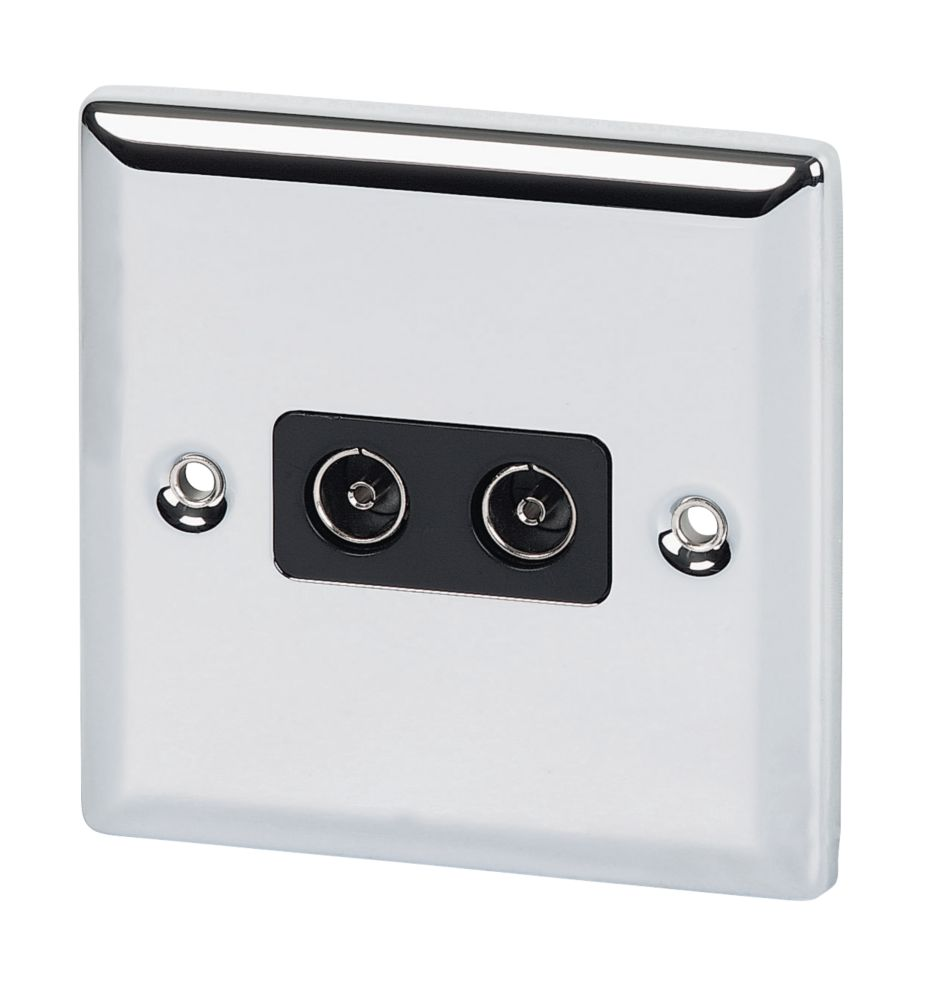 Volex Twin TV Socket Blk Ins Polish Chrome Angled Edge