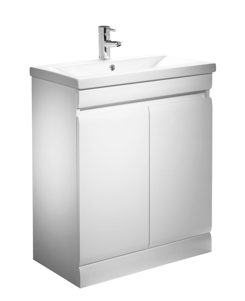 Tavistock Groove Bathroom Basin Unit White 690mm