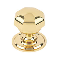 Octagonal Centre Door Knob Polished Brass