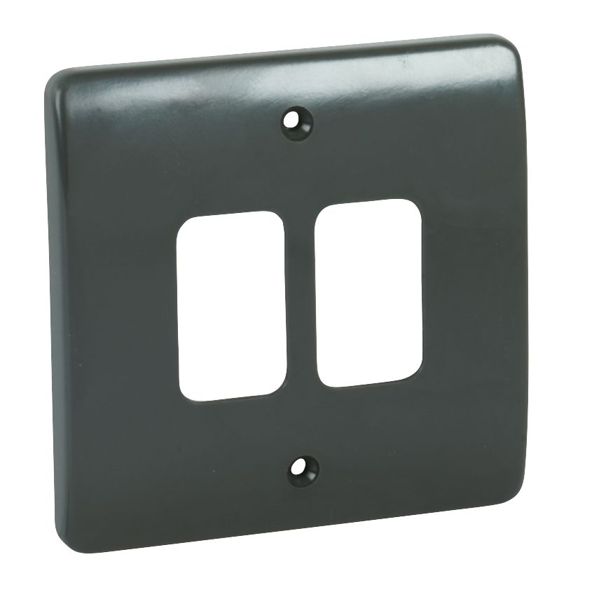 MK 2-Gang Moulded Front Plate Graphite
