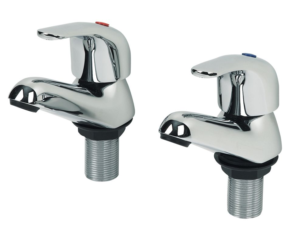Swirl Single Lever Bath Taps Chrome Pair