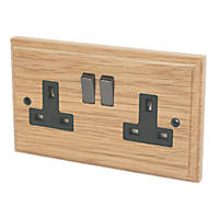 Varilight 13A DP 2-Gang Switched Socket Classic Oak