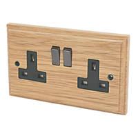 Varilight 13A DP 2-Gang Switched Socket Classic Oak