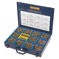 Goldscrew PZ Double Countersunk Woodscrews Expert Trade Case 2800 Pcs