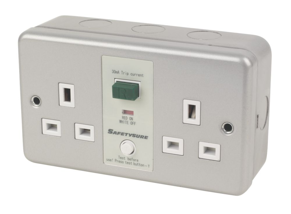 SafetySure 13A 2-Gang RCD Unswitched Plug Socket Metal Clad