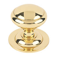 Plain Round Centre Door Knob Polished Brass