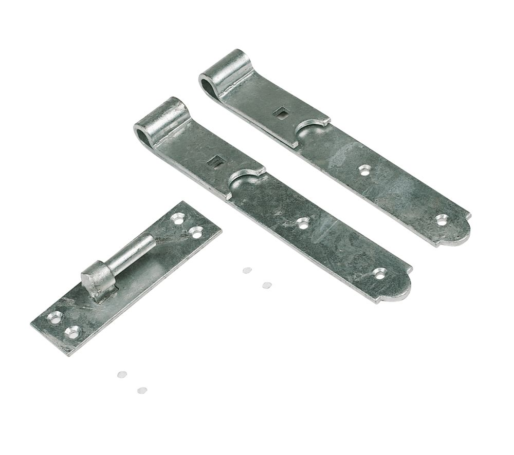Straight Gate Hook & Bands Pair Galvanised 457mm