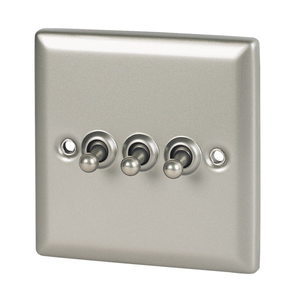 Volex 3-Gang 2-Way Toggle Switch Satin Chrome Angled Edge
