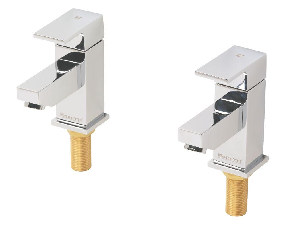 Moretti Quadrata Bathroom Basin Taps Pair