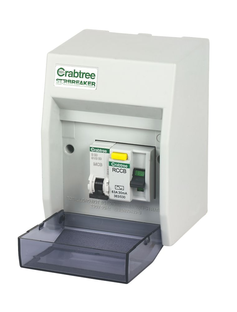 Crabtree 2-Way Fully Insulated RCD Board Consumer Unit for Shower