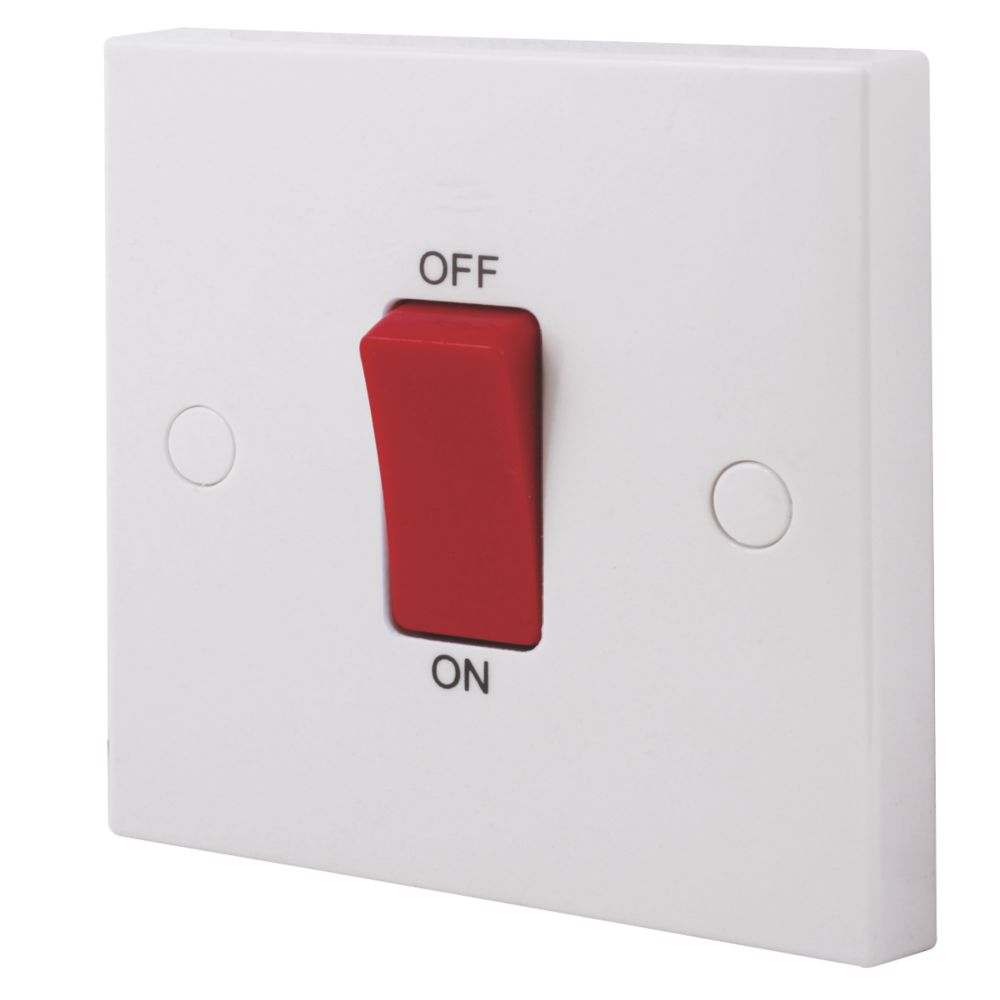 British General 45A 1-Gang Double Pole Cooker Switch White