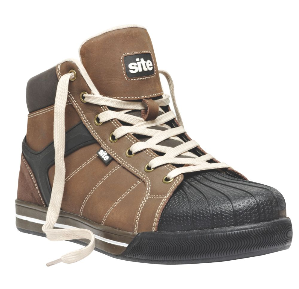 Site Shale Hi-Top Safety Trainer Boots Brown Size 11