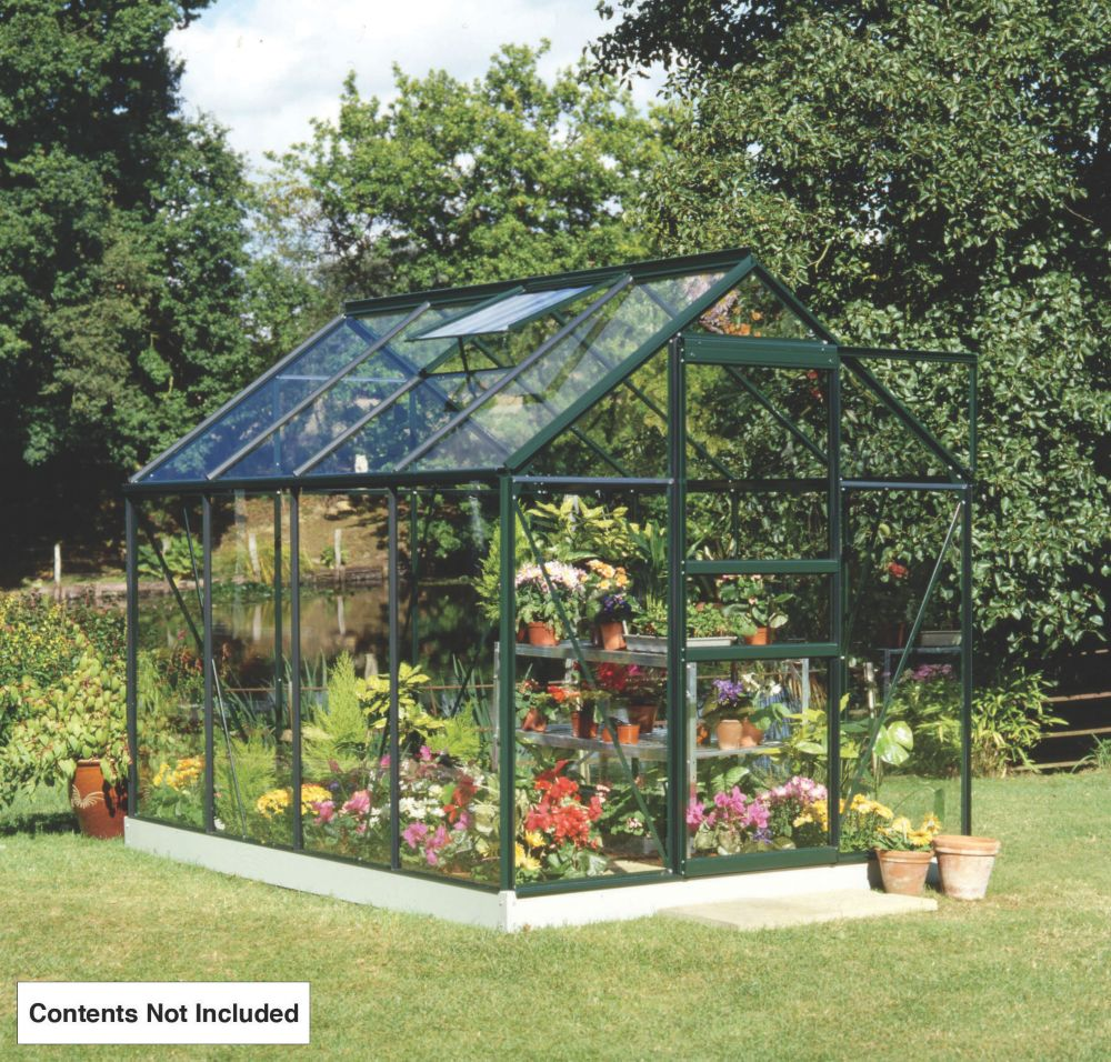 "Halls Popular Greenhouse Green Toughened Glass 8'2"" x 5'10"" x 6'3"""