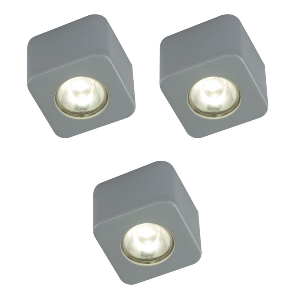 LAP Cube LED Cabinet Downlight Metallic Silver Pack of 3