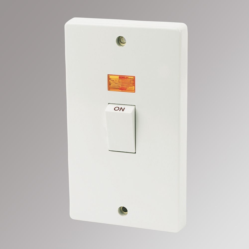 Crabtree 45A 2-Gang Switch & Neon