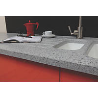 Apollo Slab Tech Sea Mist Worktop with 1½ Bowl White Sink 2500 x  x 30mm