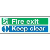 """Fire Exit Keep Clear"" Signs 150 x 450mm 50 Pack"