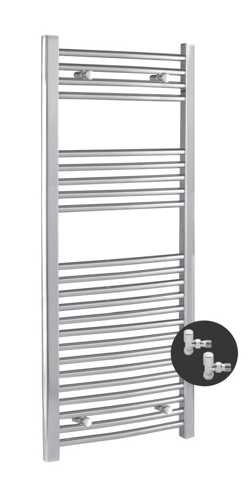 Kudox Curved Towel Rail & Angled Valves Chrome 500 x 1100mm 358W 1222Btu