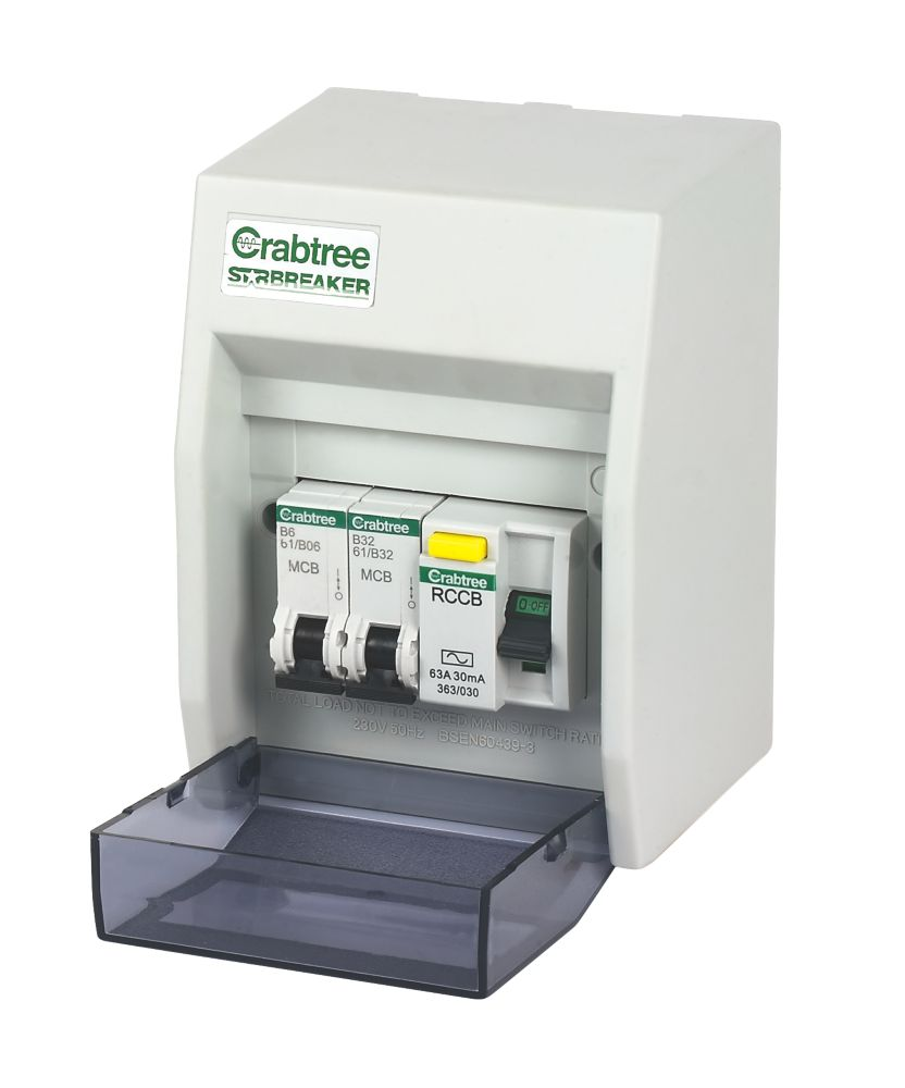 Crabtree 2-Way Fully Insulated RCD Board Consumer Unit for Garage