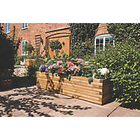 Rowlinson Rectangular Patio Planter Natural Timber 1800 x 400 x 370mm